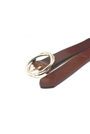 Cinturón Cuero Hebilla Dorada