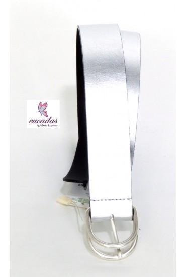 Cinturón Piel Metalizada Plata